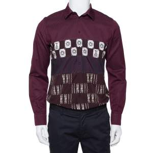 Dolce & Gabbana Wine Red Armour Printed Cotton Button Front Shirt L