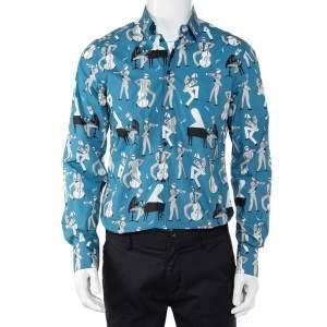 Dolce & Gabbana Blue Jazz Printed Cotton Button Front Gold Shirt L