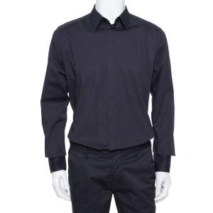 Dolce & Gabbana Black Stretch Cotton Gold Fit Long Sleeve Shirt XL