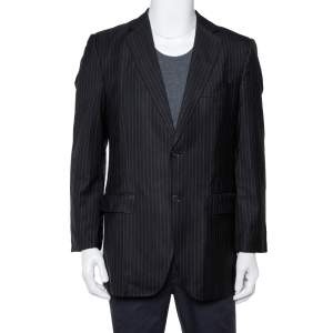 Dolce & Gabbana Black Striped Wool & Silk Button Front Vintage Blazer L