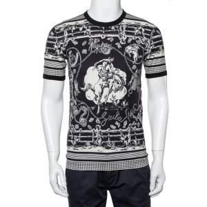 Dolce & Gabbana Monochrome Printed Cotton Crewneck T-Shirt XS