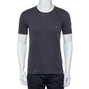Dolce & Gabbana Grey Cotton Crown & Bee Patch T Shirt XS