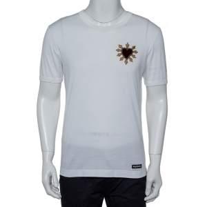 Dolce & Gabbana White Cotton Sacred Heart Applique Crewneck T-Shirt M