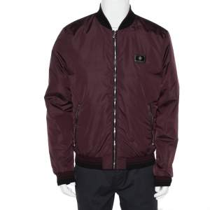 Dolce & Gabbana Burgundy Synthetic Zipper Front Bomber Jacket XL