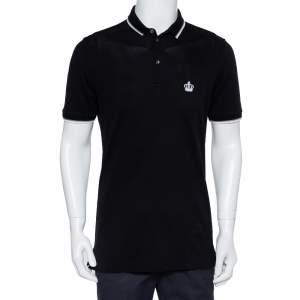 Dolce & Gabbana Black Cotton Pique Polo T-Shirt L
