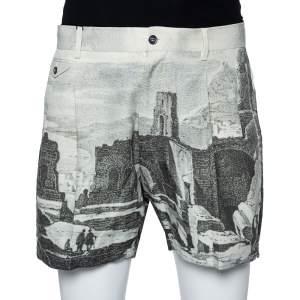 Dolce & Gabbana Green Roman Ruins Printed Cotton Pleated Shorts L