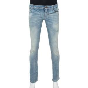 Dolce & Gabbana Blue Faded Denim Distressed Classic Jeans S