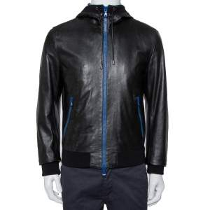 Dolce & Gabbana Black Leather Zip Front Hooded Jacket L