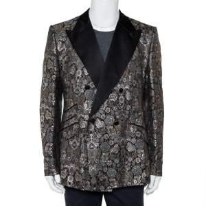 Dolce & Gabbana Metallic Lurex Jacquard Double Breasted Sicilia Blazer 3XL