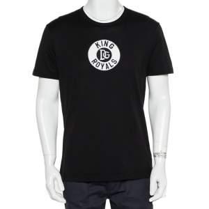 Dolce & Gabbana Black Cotton King Royals Patch Crewneck T-Shirt L