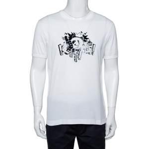 Dolce & Gabbana White Cotton Panda King Printed Crewneck T-Shirt L