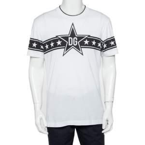 Dolce & Gabbana White Cotton DG Stars Millennials Crewneck T-Shirt M