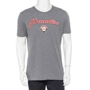 Dolce & Gabbana Grey Paradiso Print Cotton T-Shirt L