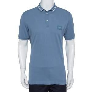 Dolce & Gabbana Blue Cotton Logo Plaque Detail Polo T-Shirt L
