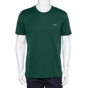 Dolce & Gabbana Green Logo Patch Cotton Crewneck T-Shirt L