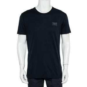 Dolce & Gabbana Navy Blue Cotton Logo Patch Detail Crewneck T-Shirt L