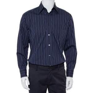 Dolce & Gabbana Navy Blue Striped Cotton Button Front Oversized Shirt M