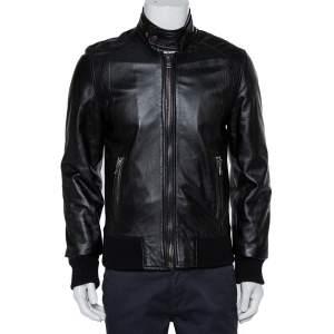 Dolce & Gabbana Black Lamb Leather Zip Front Jacket M