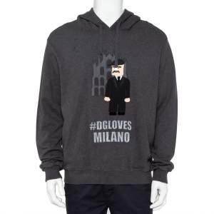 Dolce & Gabbana Grey Patchwork Detail Hooded Sweatshirt XXL