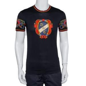 Dolce & Gabbana Black Heraldic Printed Cotton Crewneck T-Shirt XS