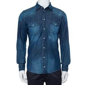 قميص دولتشي أند غابانا أزرار أمامية دنيم خفيف الوزن أزرق مقاس كبير (لارج)