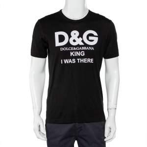 Dolce & Gabbana Black Logo Printed Cotton Crewneck T-Shirt M