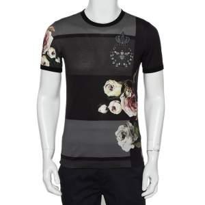 Dolce & Gabbana Charcoal Grey Floral Printed Cotton Crewneck T-Shirt XS