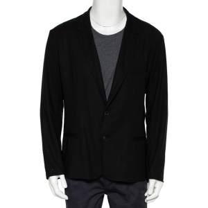Dolce & Gabbana Black Wool Button Front Lightweight Blazer XXL