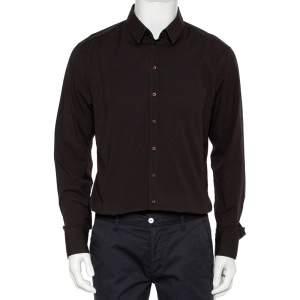 Dolce & Gabbana Brown Cotton Button Front Shirt XXL