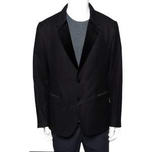 Dolce & Gabbana Black Wool Velvet Trim Button Front Blazer XL