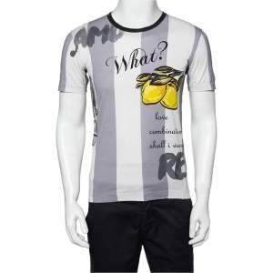 Dolce & Gabbana Grey Lemon Print Cotton Raw Seam & Stitch Detail T-Shirt S