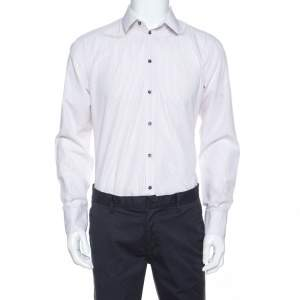 Dolce & Gabbana White Striped Cotton Shirt L