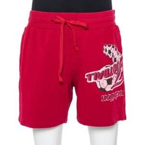 Dolce & Gabbana Burrgundy Printed Cotton Rawedge Detail Distressed Shorts XL