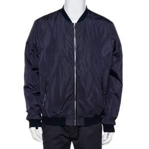 Dolce & Gabbana Navy Blue Synthetic Zip Front Bomber Jacket XXL