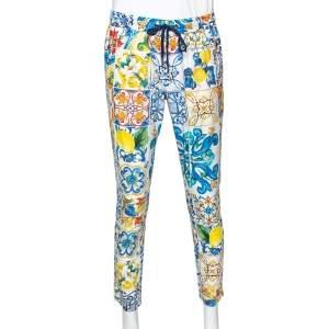 Dolce & Gabbana Multicolor Majolica Printed Cotton Pants M
