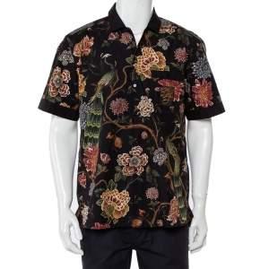 Dolce & Gabbana Black Floral Printed Cotton Applique Detail Short Sleeve Shirt M