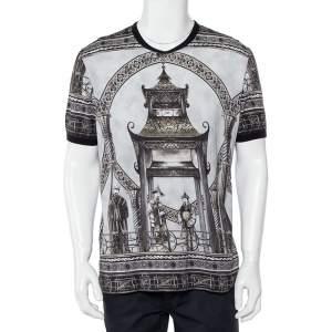 Dolce & Gabbana Grey Abstract Printed Cotton Crewneck T-Shirt 3XL