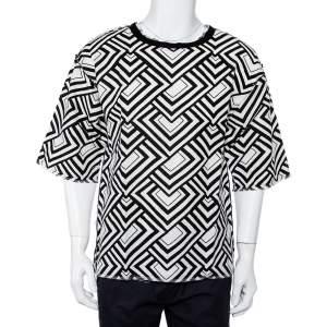 Dolce & Gabbana Monochrome Geometric Printed Cotton & Linen Oversized T-Shirt S