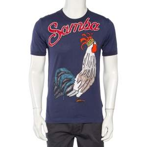 Dolce & Gabbana Navy Blue Samba Sequined Rooster Print Cotton T-Shirt L