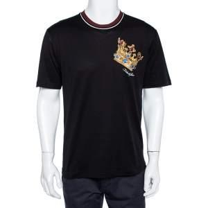 Dolce & Gabbana Black Chest Embroidered King Crew Neck T-Shirt M