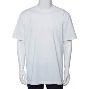 Dolce & Gabbana White Logo Embossed Cotton Crewneck T-Shirt 5XL