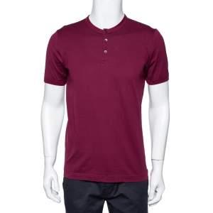 Dolce & Gabbana Burgundy Cotton Button Front Round Neck T-Shirt L
