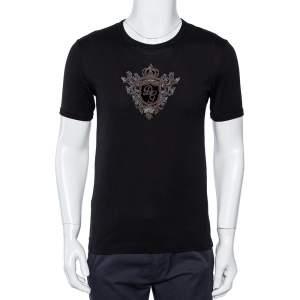 Dolce & Gabbana Black Cotton Logo Embellished Crewneck T-Shirt S