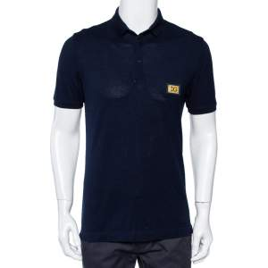 Dolce & Gabbana Navy Blue Cotton Pique Logo Patch Detail Polo T-Shirt M