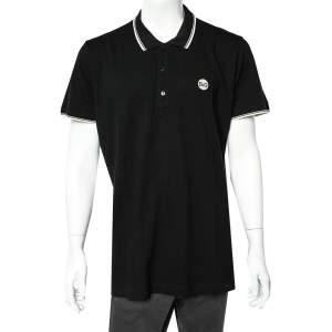 Dolce & Gabbana Black Logo Embroidered Cotton Pique Polo T-Shirt 3XL