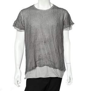 Dolce & Gabbana Grey Cotton & Linen Mesh Overlay Detail Crewneck T-Shirt XXL
