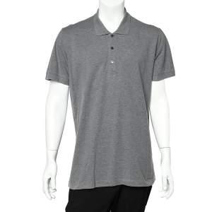 Dolce & Gabbana Grey Cotton Pique Polo T-Shirt 3XL