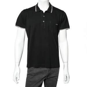Dolce & Gabbana Black Cotton Pique Contrast Stripe Detail Polo T-Shirt 3XL