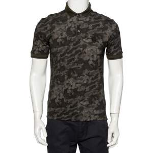 Dolce & Gabbana Green Pixel Camouflage Printed Cotton Pique Polo T-Shirt M