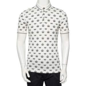 Dolce & Gabbana White Crown Printed Cotton Pique Polo T-Shirt M